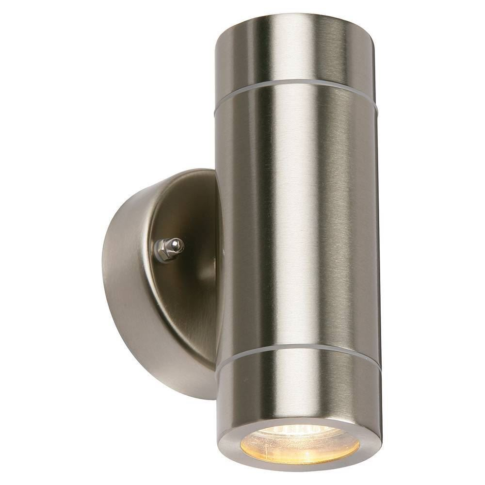 Twin Wall Light Stainless Silver Ip44 Wall Lights Vision Lighting Ltd
